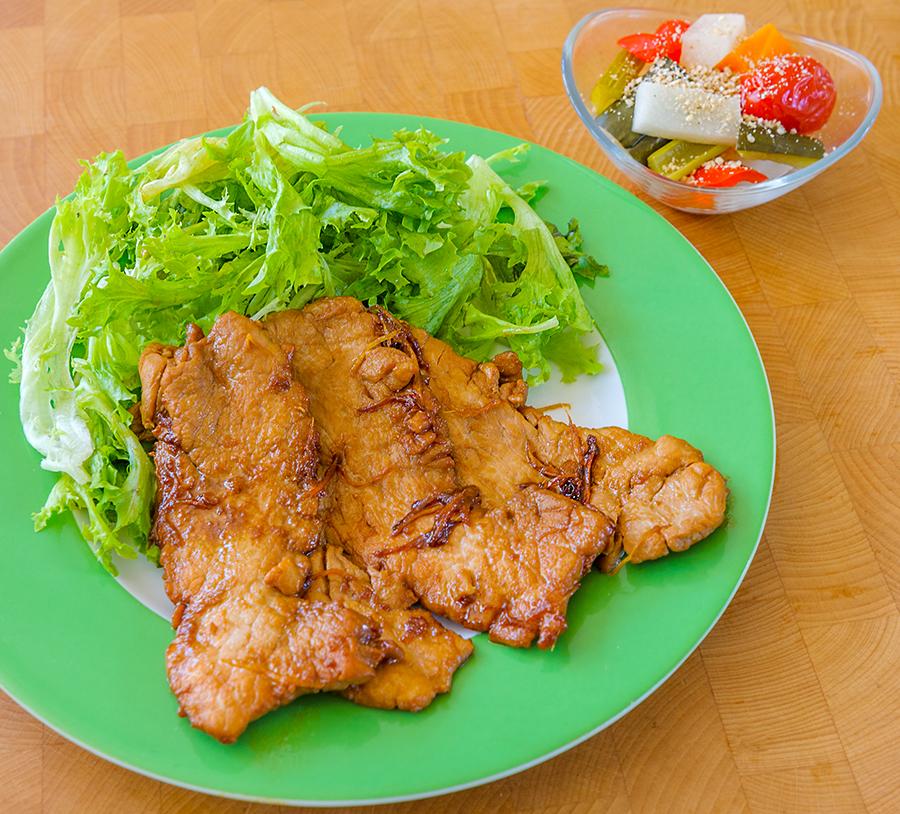 Ginger pork and pickled vegetables