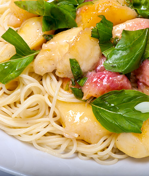 IMG: peach pasta with basil