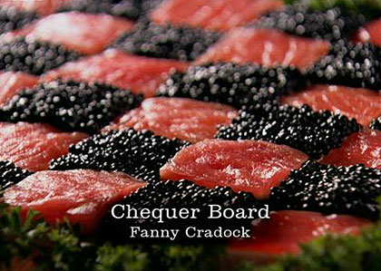 caviar and smoked salmon chequerboard