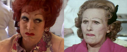 Julia Davis as Fanny, and the real Fanny Cradock circa mid-1970s