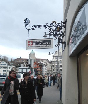 Schweizer Heimatwerk store sign
