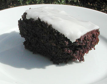 Irish Stout Cake with whiskey-sour icing