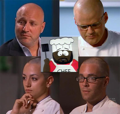 Chef head shaved top